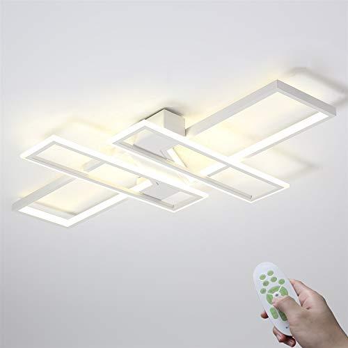 Modern LED Schlafzimmerlampe Esszimmer Deckenleuchte 85W Dimmbar Mit Fernbedienung Wohnzimmerlampe Rechteckig Design Innenbeleuchtung Deckenlampe Metall Acryl 3000K-6000K (Color : Weiß)