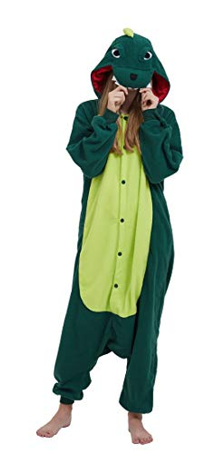 Pijama Onesie Adultos Mujer Cosplay Animal Disfraces Sleepwear Verde Oscuro S