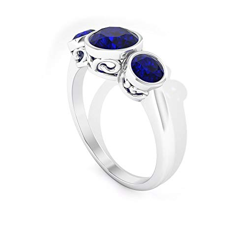 Anillo Difuso de zafiro certificado IDCL, anillo de oro de tres piedras prometen, clásico de piedras preciosas de boda, anillo de dama de honor, declaración para mujer, 14K Oro blanco, Size:EU 56