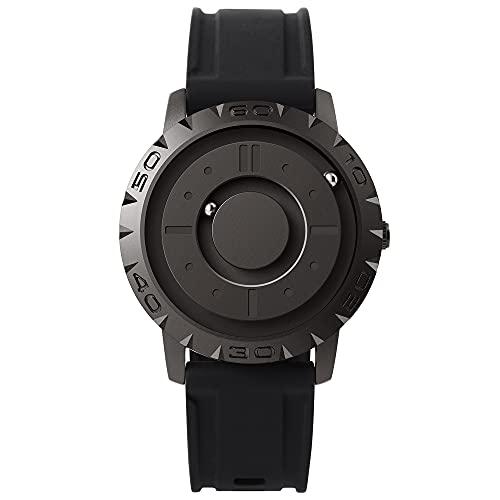 EUTOUR Reloj Analógico para Hombre y Mujer Reloj Magnético de Cuarzo Suizo Relojes de Pulsera Originales con Correa de Resina Negro