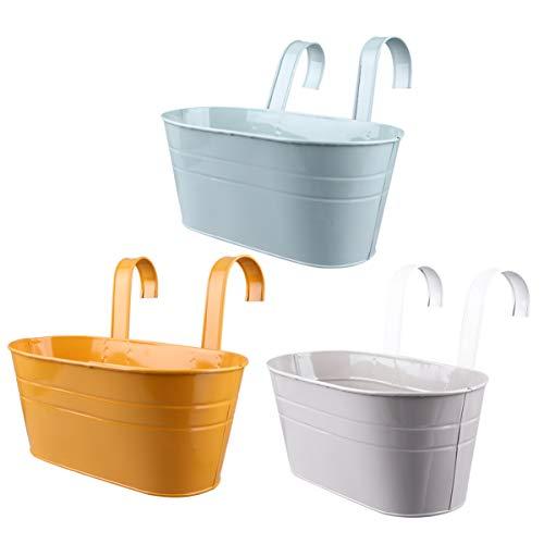 Hemoton 3 Pezzi Vaso di Fiori da Appendere per Balcone - Vaso sospeso con Colori Vivaci per Piante ed Erbe - Vaso con Gancio per Giardino