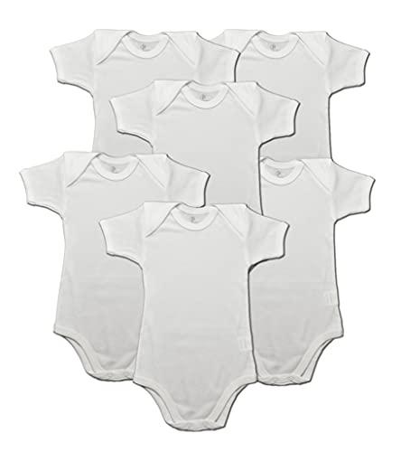 nazarenogabrielli Body Neonato Unisex Manica Corta 100 % Puro Caldo Cotone Bianco da 0-3 Mesi Confezione da 6 Pezzi Made in Italy Tessuto Anallergico Body Bimbo Neonato