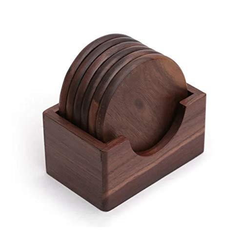 Mat gesneden Onderzetter isolatiemat van hout, zwarte walnoot, met de hand gepolijst rond theekopje koffie, Kleedmat Keukendecoratie Lot houder van 6 stuks