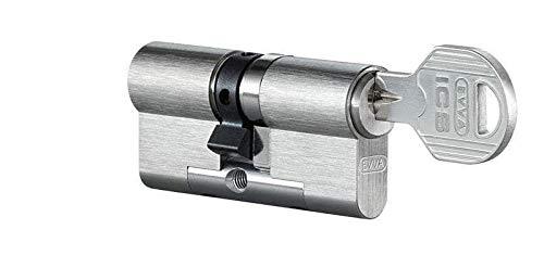 EVVA ICS Doppelzylinder mit 3 Wendeschlüssel + Sicherungskarte, Hochsicherheits-Zylinderschloss, einzelschließend oder gleichschließend, Schließanlage, Türschloss, Länge A:41 mm I:31 mm