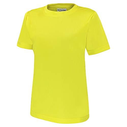 Alps to Ocean Sports Kinder Sportshirt Funktions T-Shirt Teamsport (schnelltrocknend, atmungsaktiv), Größe:116, Farbe:Yellow