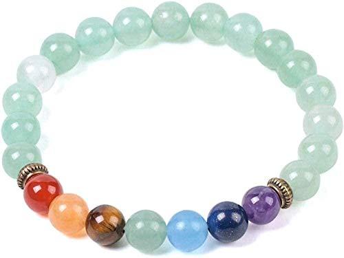 NC110 Natural Gem Stone Green Aventurine Bracelets For Women Mens 8mm Mala Round Beads 7 Chakras Meditation Amulet Bracelets YUAHJIGE