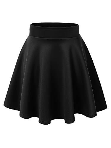 MBJ WB669 Womens Basic Versatile Strechy Flare Skater Skirt L Black