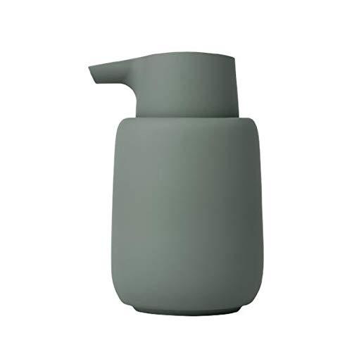 Blomus Sono Seifenspender, Keramik, Kunststoff, Silikon, Agave Green, H 14 cm, T 9,5 cm, Ø 8,5, V 0,25 l