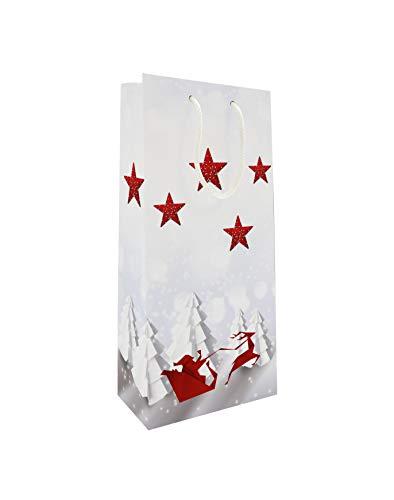 LUDI-VIN - Bolsas de papel de lujo con asas de cuerda, para 2 botellas de vino, decoración de trineal