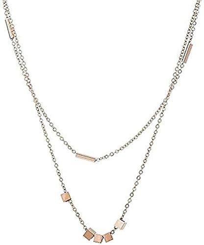 NONGYEYH co.,ltd Collar Anillo Collar de Doble Capa Mujeres Simple Temperamento Generoso Collar de Cadena de clavícula Corta Regalo