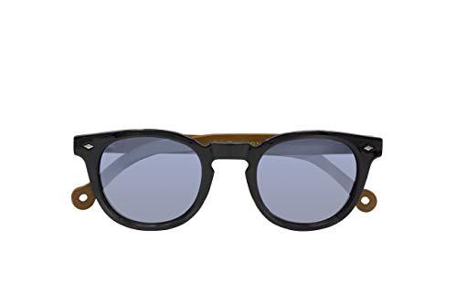 Parafina - Gafas de Sol Polarizadas para Hombre y Mujer - Gafas de Sol Redondas Anti-reflejantes Negras con Efecto Espejo - Lentes Plateadas