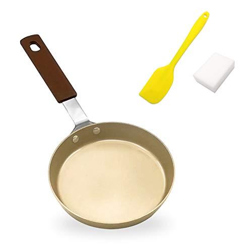 Mini Padella per Crepes Antiaderente per Induzione Pentola Acciaio al Carbonio per Crepes Frittelle Focaccina Uova 14cm con Accessori