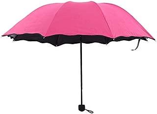 ClookYuan Compacto Totalmente autom/ático Paraguas Tres Plegables Claro a Prueba de Viento Paraguas Mujeres Hombres 8 Costilla Transparente a Prueba de Lluvia Regalo de Paraguas Negro