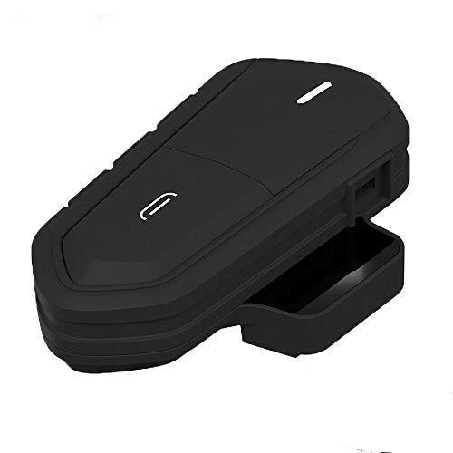 Sunwan - Cuffie per casco da moto, senza fili, Bluetooth, impermeabili, ricaricabili, con microfono, radio FM, MP3