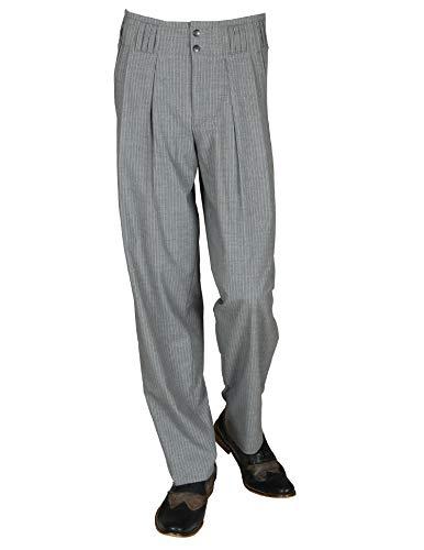 Grau Weiß Gestreifte Bundfaltenhose Herren Retro Vintage Stil Nadelstreifen Hose Modell Boogie Größe 52