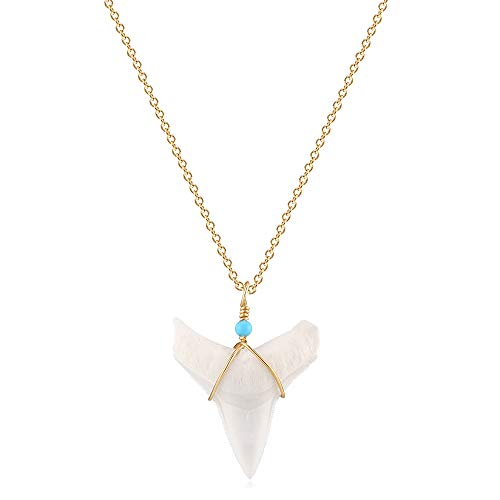 VACRONA Real Shark Tooth Necklace for Women Girls 18K Gold Plated Turquoise Great White Shark Tooth Pendant Necklace Hawaiian Beach Style Jewelry Gift for Her