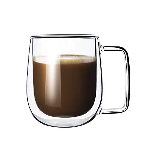 Femora Crystal Glass Coffee Mug - Set of 2, 270ml