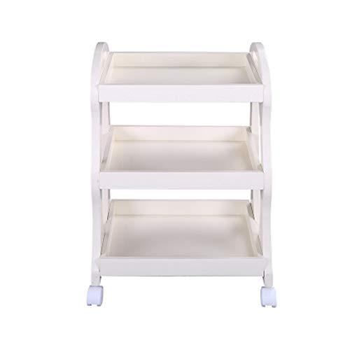 WWWTT - Carrito de madera maciza blanca para masaje de belleza (3 niveles), color blanco