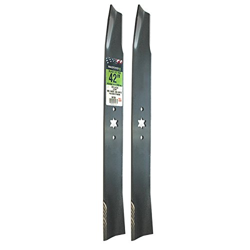 "Maxpower 561556 (2) Blade Set For 42"" Cut MTD, Cub Cadet, & Troy-Bilt Replaces OEM No. 742-04308, 742-04312, 942-04308, 942-04312, 119-8456"