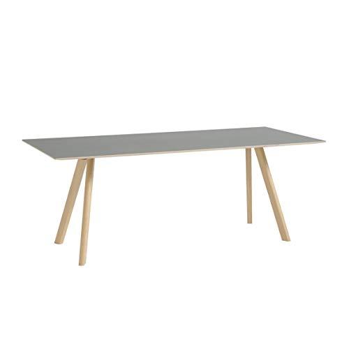 HAY Copenhague CPH30 Esstisch Linoleum 200x90cm, grau Linoleum Tischplatte Gestell Eiche massiv matt lackiert LxBxH 200x90x74cm