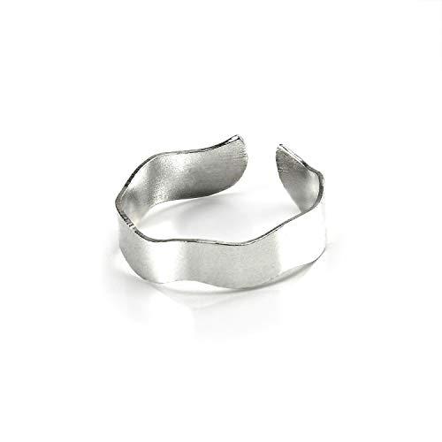 925er Sterling-Silber Zehenring mit Wellendesign | 5 mm | verstellbar