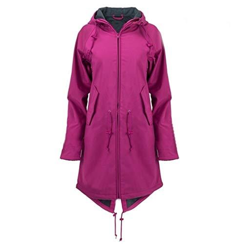 Leeafly Damen Outdoor Outdoorjacken Sonnenschutz Wasserdichter, Damen Maritime Jacke Regenjacke veredelt Gefüttert,Mode Jacke FrüHjahr Herbst Outdoor Hoodie Reißverschluss(L,Lila)