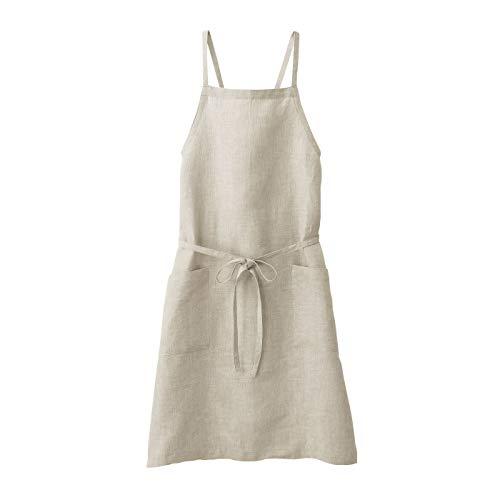 無印良品 麻平織 肩クロスエプロン 生成 身丈約90cm・巾着付 82247633