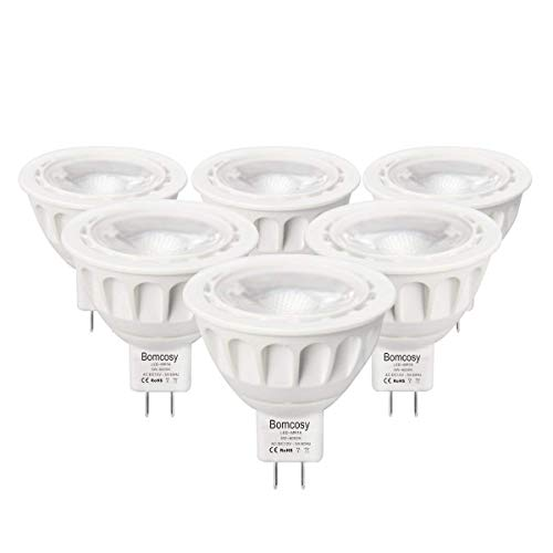 Bombillas LED GU5.3, Bomcosy MR16 LED 5W Lámparas Halógenas Equivalentes a 50W, LED 12v MR16, Blanco Frio 6000K, Bombillas led 420LM, LED GU5.3 36°Luz, 6 Pack