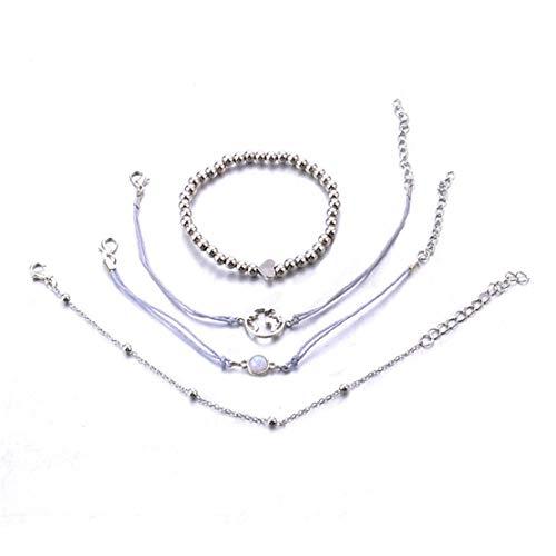 CAIRLEE 4 Stück Exquisite Karte Opal Perlen Kette Armband Zubehör Schmuck Geschenk für Frauen