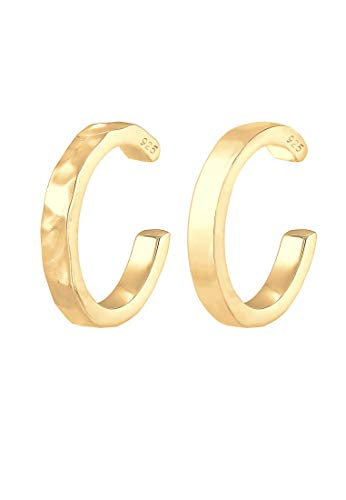 Elli Pendientes Juego de 2 abrazaderas de orejas para damas con aspecto geo-orgánico con superficie martillada y lisa (14mm) 925 de plata esterlina