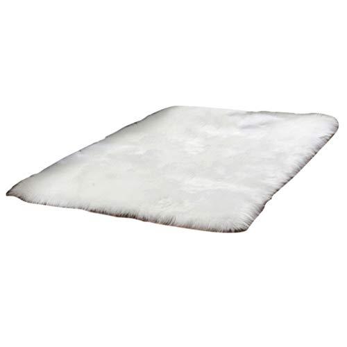 Tapis Fourrure synthétique, avec Peau de Mouton Artificiel,pour Le Salon, lit et canapé,Blanc,60 * 120CM