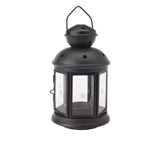 Farol para velas de color negro, apto para uso en interiores y al aire libre, de la marca...