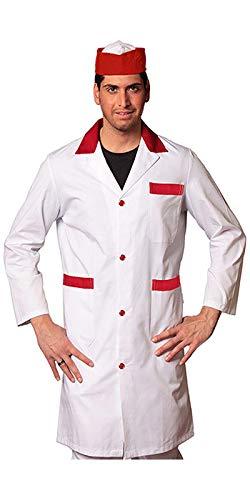 Petersabitidalavoro Camice da Lavoro Uomo, Bianco con Bordi Colorati, 100% Made in Italy,Macellaio,Alimentari (XL=52-54, Inserto Rosso)
