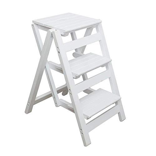 XITER Taburete Plegable de Escalera de Madera, Sillas de Escalera con Escalera de 3 escalones, Plataforma Plegable de Escalera con Taburete (Color : White)