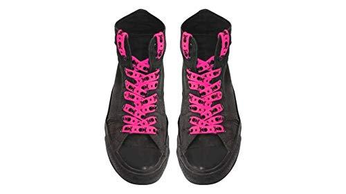 kenai dark Schnürsenkel Neon Pink mit schwarzen Totenköpfen,Shoelaces neon pink black skulls,Cordones calaveras pink neon rojas,Crânes pink fluo
