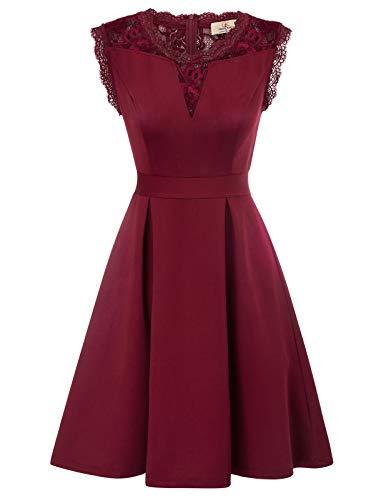 Retro Kleid a Linie v Ausschnitt Kleid Damen 50s Kleid a Linie trägerkleider Fashion Kleid CL870-2 S