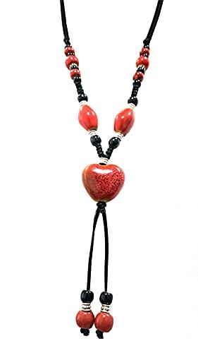 Joielavie Collar largo con corazón de cerámica y cerámica pintada con perlas varias vueltas cadena de cordón accesorio de ropa pavita joyas de fantasía regalo para mujer o niña Cerámica aleación