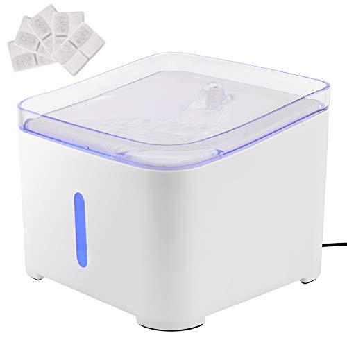 Fuente para gatos, fuente de agua para mascotas, dispensador de agua con 5 filtros de carbón activo y cepillo, luz LED inteligente, extremadamente silenciosa, 2 L