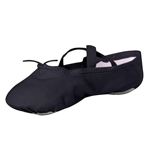 STELLE Girls Canvas Ballet Slipper/Ballet Shoe/Yoga Dance Shoe (Toddler/Little Kid/Big Kid/Women/Boy) (12ML, Black)