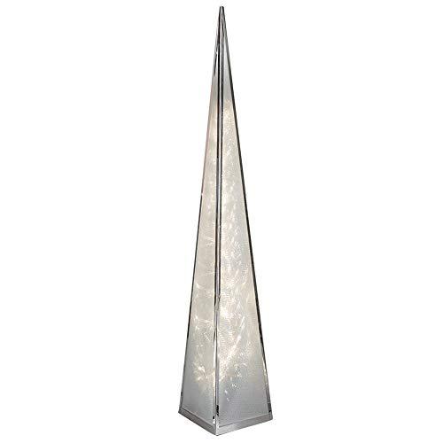 Formano Deko-Pyramide aus Metall, 60 cm, mit 12 LEDs, 1 Stück, Silber, mit Drehmotor und Adapter