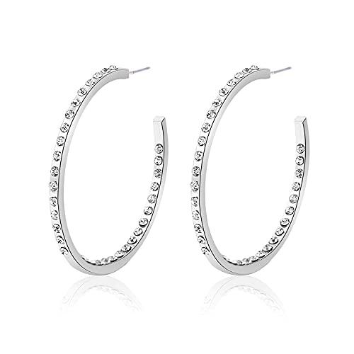 Pendientes chapados en oro redondo de alto grado simple en forma de C para mujer joyería de plata