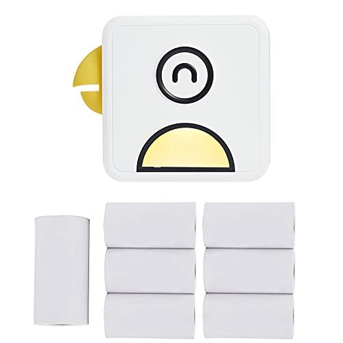 DriSubt Mini impresora fotográfica Direct Thermal 200 ppp BT Wireless Label Maker con rollo de papel térmico compatible con Android IOS Smartphone (amarillo)