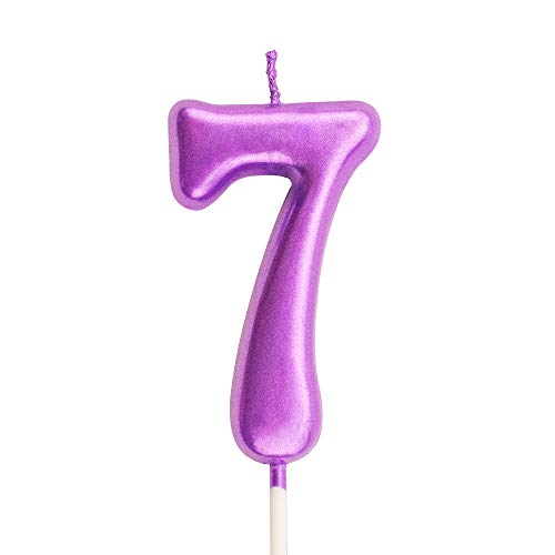 XNOVA 7th Birthday Candle Seven Years Purple Happy Birthday Number 7 Candles for Cake Topper Decoration for Party Kids Adults Numeral 70 47 27 37 77 75
