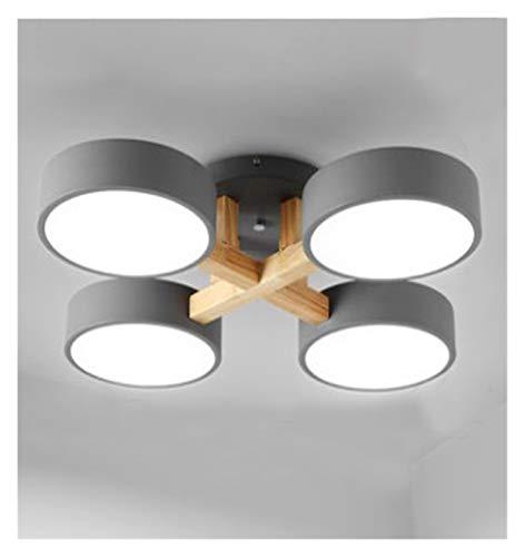 yywl Lámpara de Techo Simple Moderna de Techo nórdica 220V LED de luz Blanca Gris Verde Metal Sombra de Madera Dormitorio de la lámpara de la Sala (Body Color : Gray 4 Lights)