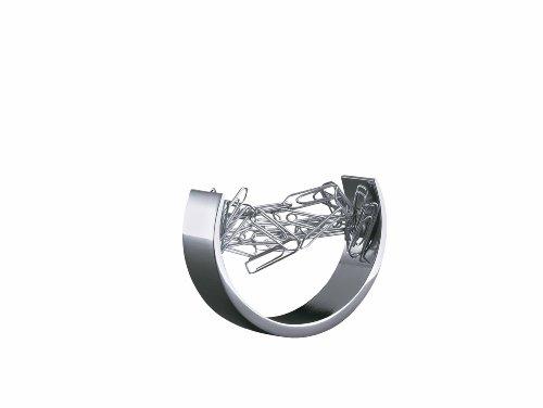 Wedo 2057954 Klammerspender Bow, magnetisch, Zinklegierung, inkl. 100 Büroklammern, Geschenkkarton, silber