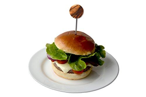 D.O.M. Die Olivenholz Manufaktur D.O.M. Lot de 2 Burger Brochette avec poignée en Bois d'olivier