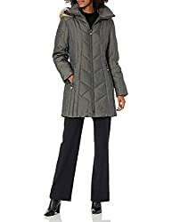 professional Anne Klein Women's Down Jacket 35inch Chevron Hood with Faux Fur Trim Roden Small