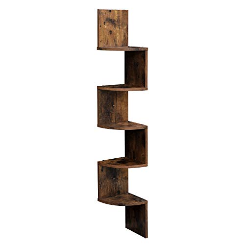 VASAGLE Corner Shelf, 5-Tier Floating Wall Shelf with Zigzag Design, Bookshelf, Rustic Brown ULBC72BX