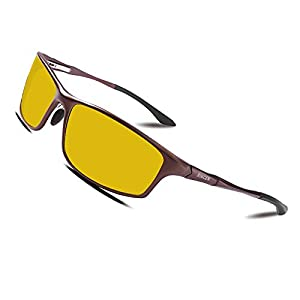 Bircen Night Vision Driving Polarized Glasses for Men Women Anti Glare Rainy Safe HD Fashion Al-Mg Metal Frame Sun Glasses by Bircen
