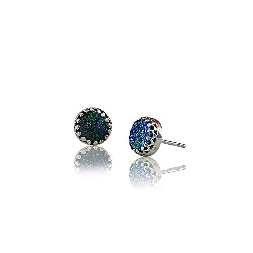 Beautiful Blue Roman Glass 925 Stud Ranking TOP12 Earrings Same day shipping Silver Sterling
